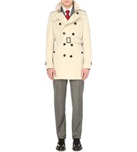 Burberry Heritage Slim Fit Mid Trench Coat Cream