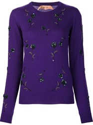 N 21 No21 Floral Embellished Jumper Pink And Purple