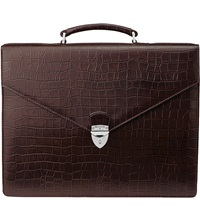 Aspinal Of London Executive Embossed Leather Briefcase Brown