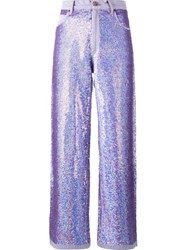 Ashish Wide Leg Sequin Jeans Pink And Purple