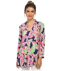 Lilly Pulitzer Sarasota Tunic Bright Navy In The Vias Women's Blouse Multi