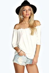 Boohoo Shirred Off The Shoulder 1 2 Sleeve Top Cream