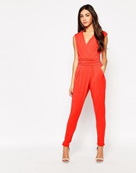 Wal G Wrap Front Jumpsuit Coral