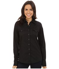 Cinch Cotton Plain Weave Fit Black Women's Long Sleeve Button Up