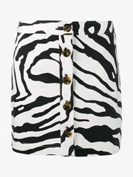 Adam By Adam Lippes Zebra Print Denim Mini Skirt Black White Denim Leopard