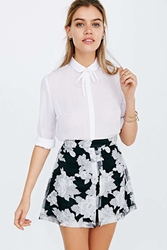 Lucca Couture Organza Pleated Mini Skirt Black And White