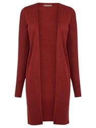 Oasis Longline Rib Trim Edge To Edge Cardigan Burgundy
