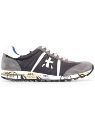 Premiata White Lace Up Sneakers Grey