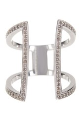 Argentovivo Sterling Silver Cz Double Bar Ring Size 7 Metallic