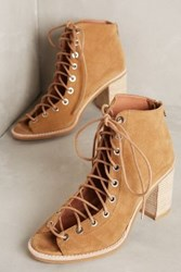 Anthropologie Jeffrey Campbell Cors Lace Up Heels Camel 5.5 Wedges