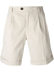 Brunello Cucinelli Front Pleat Shorts Nude And Neutrals