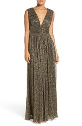 Aidan Mattox Women's By Crinkle Metallic Fit And Flare Gown