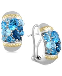 Effy Collection Ocean Bleu By Effy Blue Topaz Earrings 6 Ct. T.W. In Sterling Silver And 18K Gold