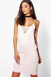 Boohoo Searra Textured Lace Plunge Bodycon Dress Nude