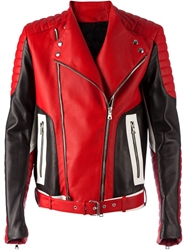 Balmain Panneled Biker Jacket Red