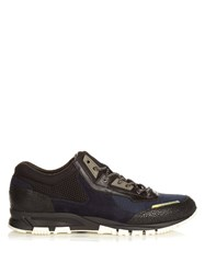 Lanvin Suede And Leather Running Trainers Navy Multi