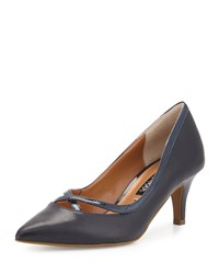 Kay Unger Viktoria Crisscross Leather Pump Navy