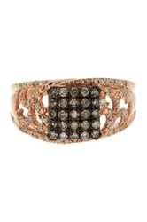 Savvy Cie Champagne And White Diamond Square Filigree Ring 0.45 Ctw Pink