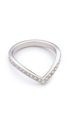 Vita Fede Mini Crystal V Ring Silver Clear