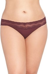 Natori Plus Size Women's 'Bliss Perfection' Bikini Brief Merlot