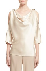 Women's St. John Collection Embellished Liquid Satin Cowl Neck Blouse Champagne