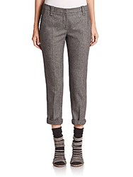 Brunello Cucinelli Tweed Wool Blend Ankle Pants Grey