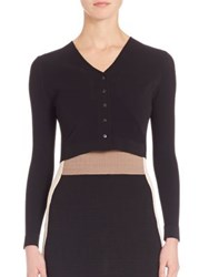 Narciso Rodriguez Double Knit Cropped Cardigan Black