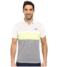Nike Modern Fit Transition Dry Stripe White Black Men's Short Sleeve Pullover