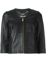Just Cavalli Fringed Cropped Jacket Black