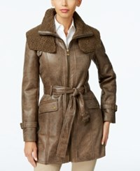 Kenneth Cole Faux Shearling Trench Coat Brown