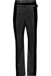 Proenza Schouler Suede And Leather Tapered Pants Black