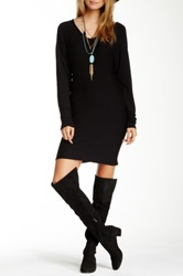 Go Couture Long Sleeve Scoop Neck Sweater Dress Black