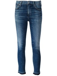 Citizens Of Humanity Stonewashed Cropped Jeans Blue