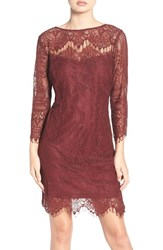 Bb Dakota Women's Everton Illusion Lace Sheath Dress Bourdeaux