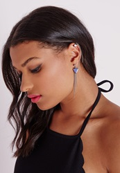 Missguided Triangle Pendant Ear Cuff Silver Grey