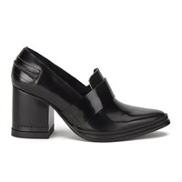 Purified Women's Fey Block Heeled Leather Shoes Black Highshine
