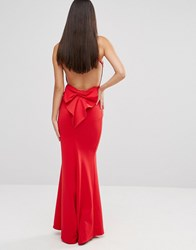 City Goddess Maxi Dress With Bow Detail And Exposed Back Red