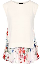Theory Umalda Cotton And Cashmere Blend Top White
