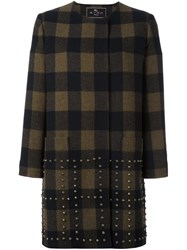 Etro Studded Checked Coat Black