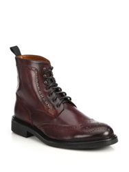 Saks Fifth Avenue Wingtip Leather Ankle Boots Burgundy