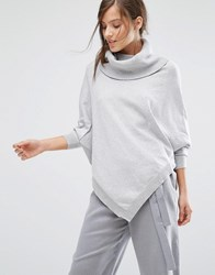 Parallel Lines Draped Cross Front Jumper With Slouchy Roll Neck Grey