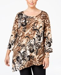 Jm Collection Plus Size Printed Asymmetrical Hem Top Only At Macy's Alpine Animal