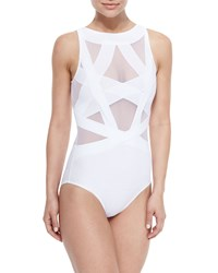Oye Swimwear Esther Strappy Mesh One Piece Swimsuit White