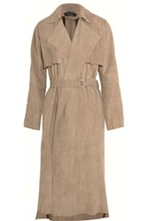 Muubaa Lorne Belted Suede Trench Coat Sand