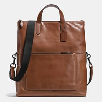 Coach Manhattan Foldover Tote In Sport Calf Leather Black Antique Nickel Dark Saddle