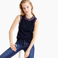 J.Crew Sequin Crewneck Shell Top In Merino Wool Blend