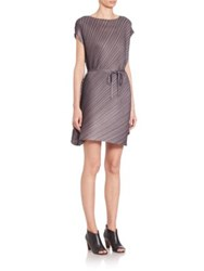 Issey Miyake Pleated Short Sleeve Dress Charcoal