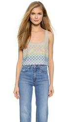 Mara Hoffman Linen Beaded Crop Top Taupe