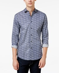 Vince Camuto Men's Abstract Print Long Sleeve Shirt Blue Abstract