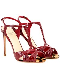 Francesco Russo Patent Leather Sandals Red